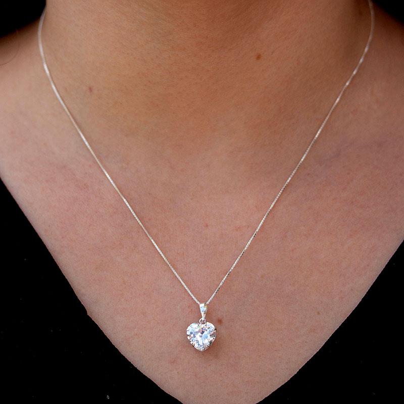 Colar ponto de luz de coração prata 925 feminino