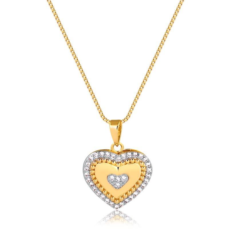 Colar Relicário de Coração Pequeno Banhado à Ouro 18k Feminino