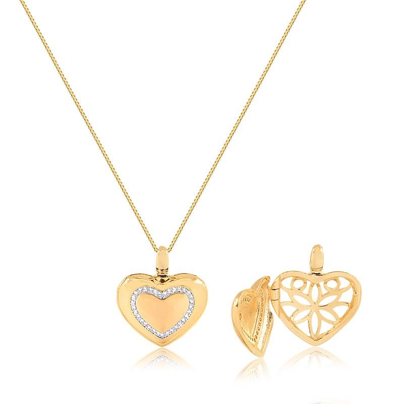 Colar relicário de coração banhado a ouro 18k feminino