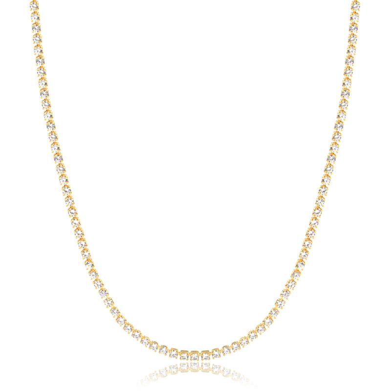 Colar riviera com zirconias banhado a ouro 18k feminino