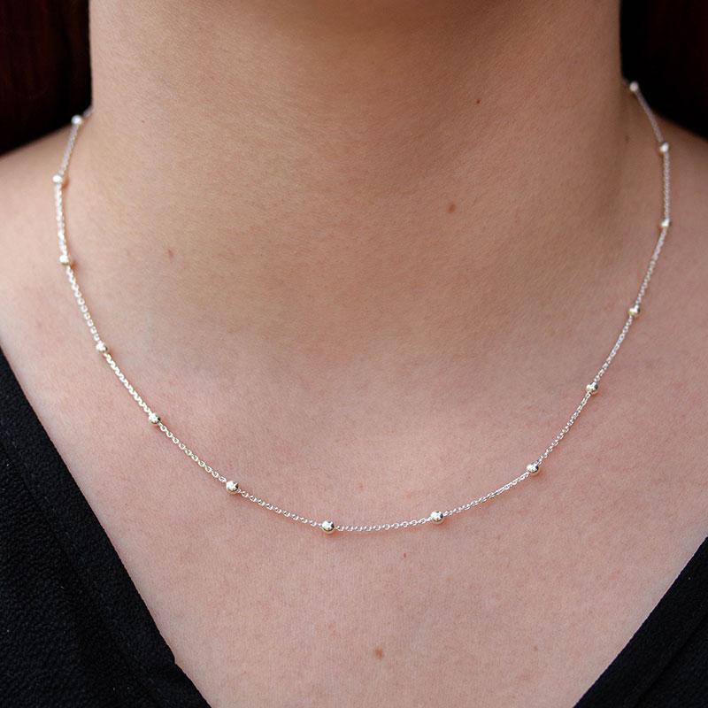 Corrente de bolinhas prata 925 feminina