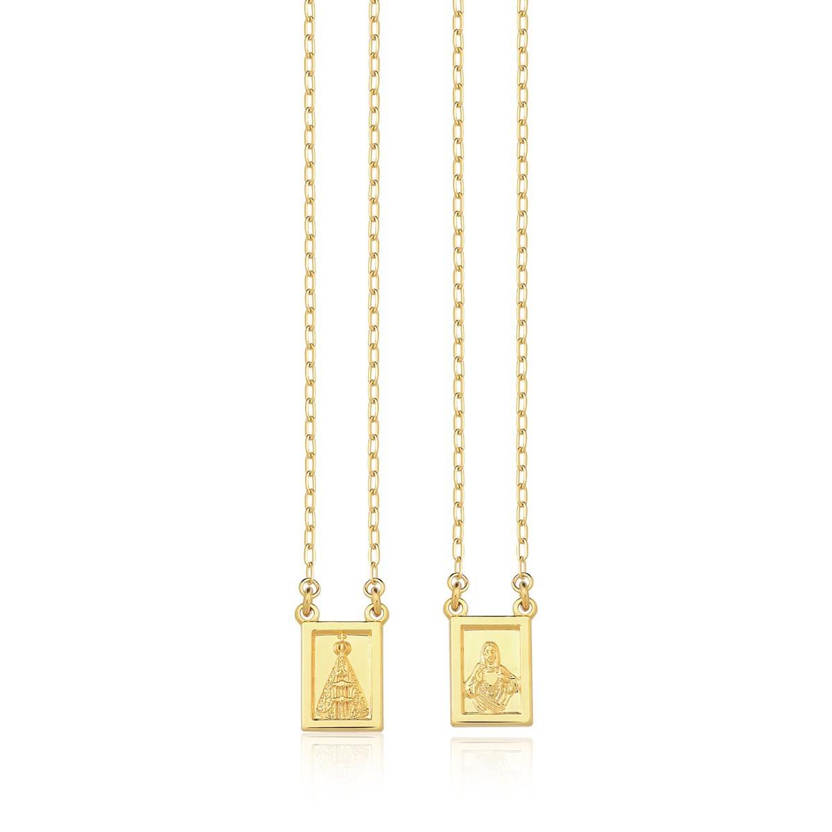 Escapulário de nossa senhora aparecida e sagrado coração de jesus 60cm banhado a ouro 18k