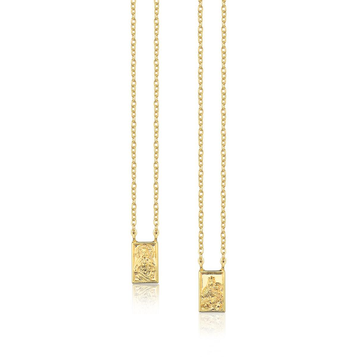 Escapulário maria liberdade e sagrado coração de jesus delicado 60cm banhado a ouro 18k