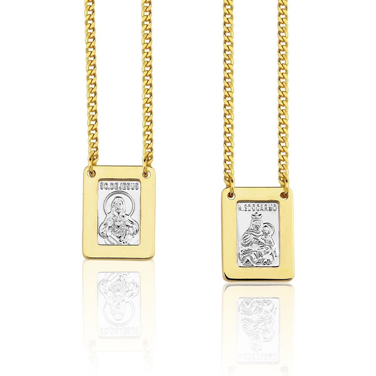 Escapulário nossa senhora do carmo e sagrado coração banhado a ouro 18k com detalhe em ródio branco