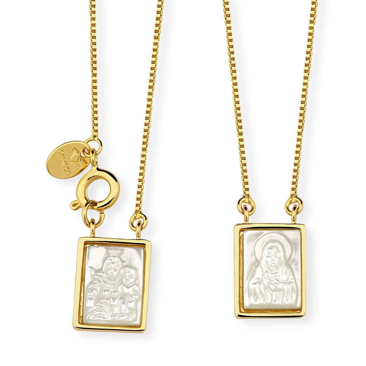 Escapuláriode madrepérola quadrado banhado a ouro 18k feminino