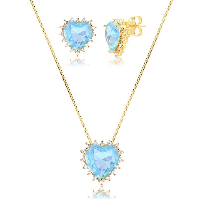 Kit brinco e colar de coração com pedra azul banhado a ouro 18k feminino