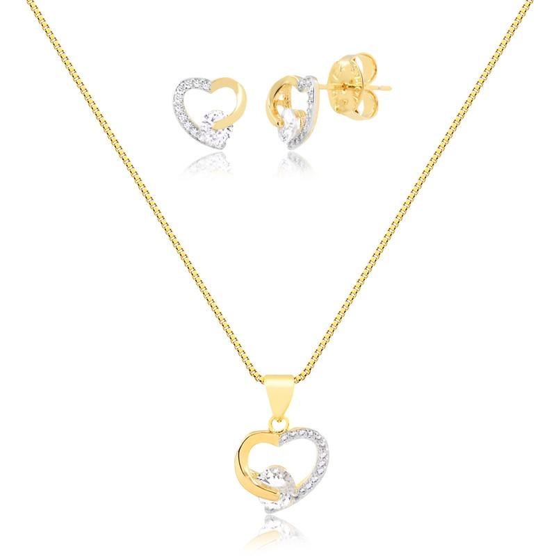 Kit brinco e colar de coração com zirconias banhado a ouro 18k feminino