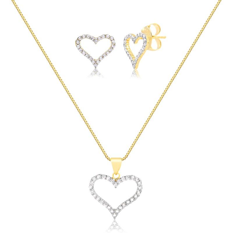 Kit brinco e colar de coração vazado banhado a ouro 18k feminino