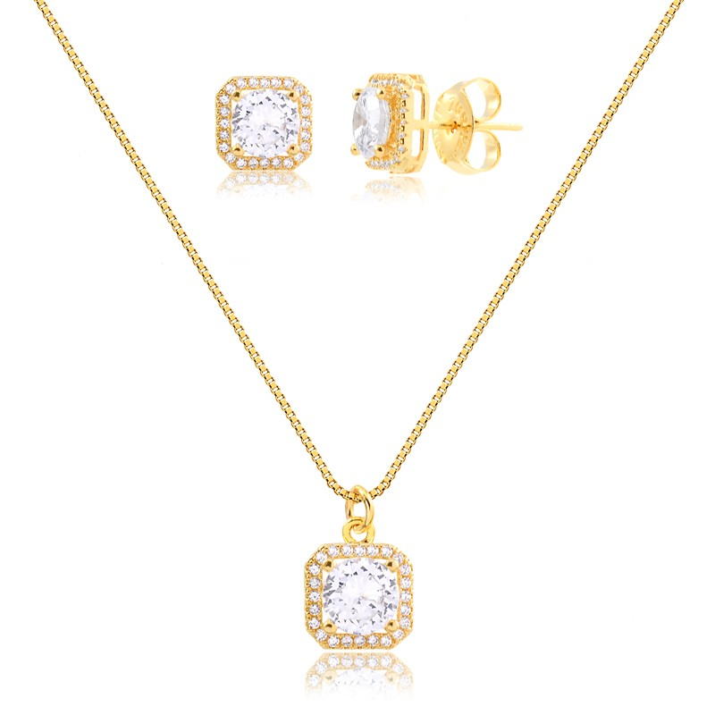 Kit brinco e colar ponto de luz quadrado com zirconias banhado a ouro 18k feminino