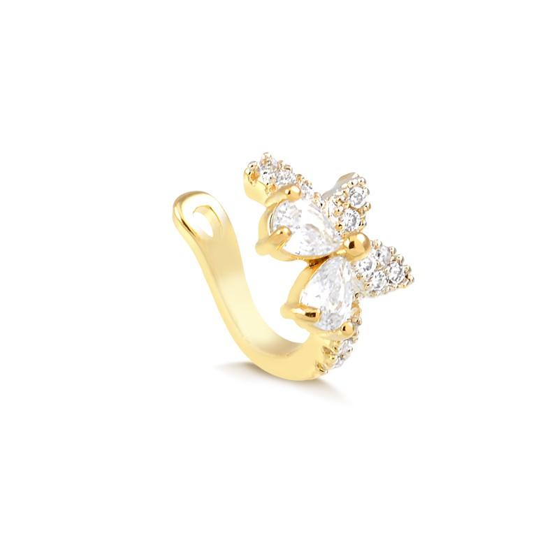 Piercing fake de borboleta com zircônias banhado à ouro 18k feminino