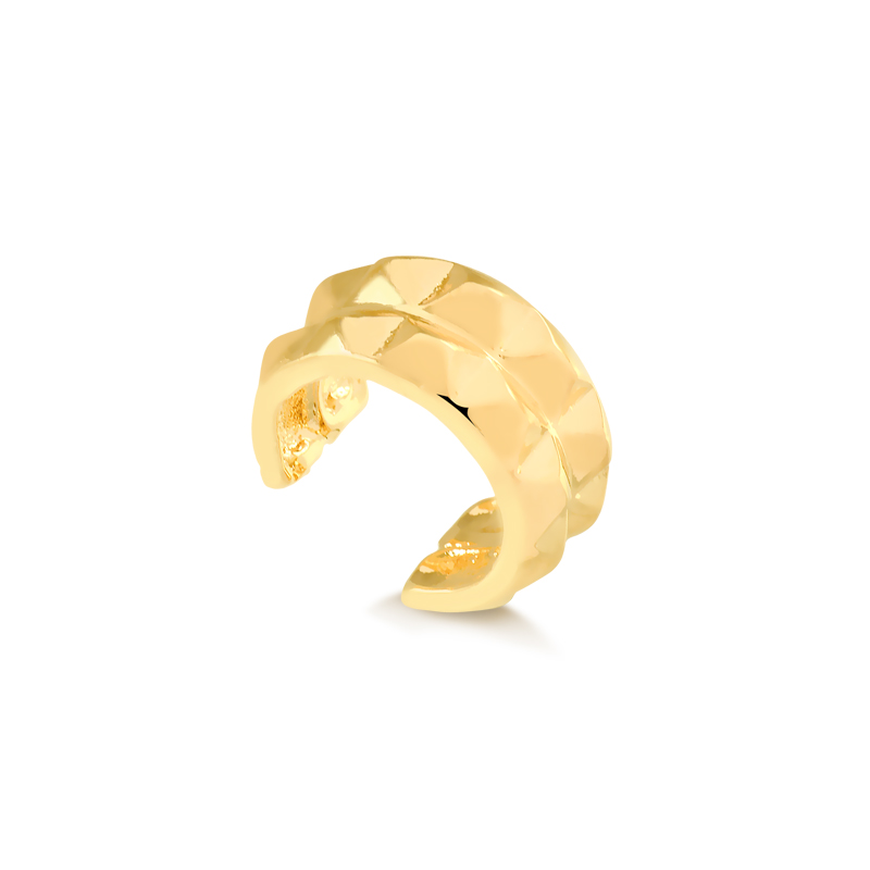 Piercing fake duplo de spikes banhado a ouro 18k feminino