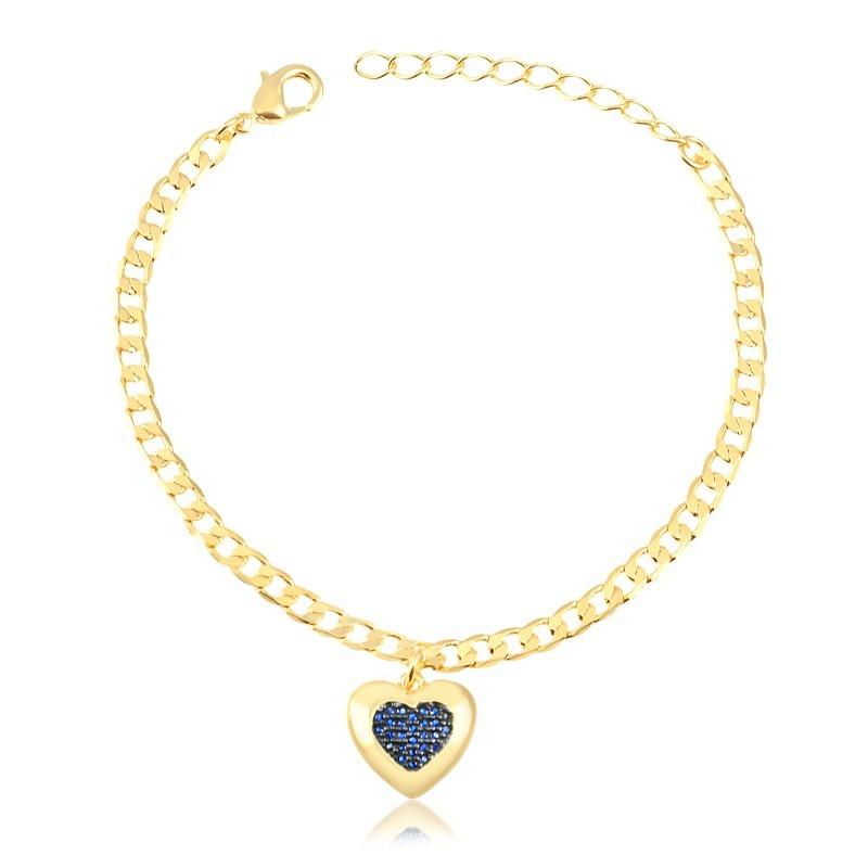 Pulseira com pingente de coração azul banhada à ouro 18k feminina