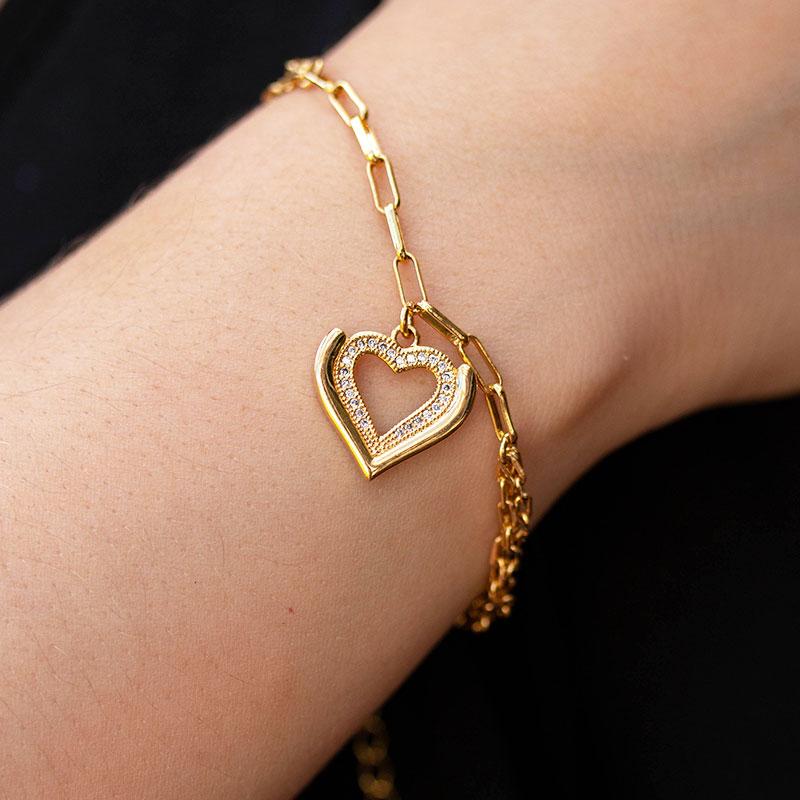 Pulseira com pingente de coração cravejado banhado a ouro 18k feminina