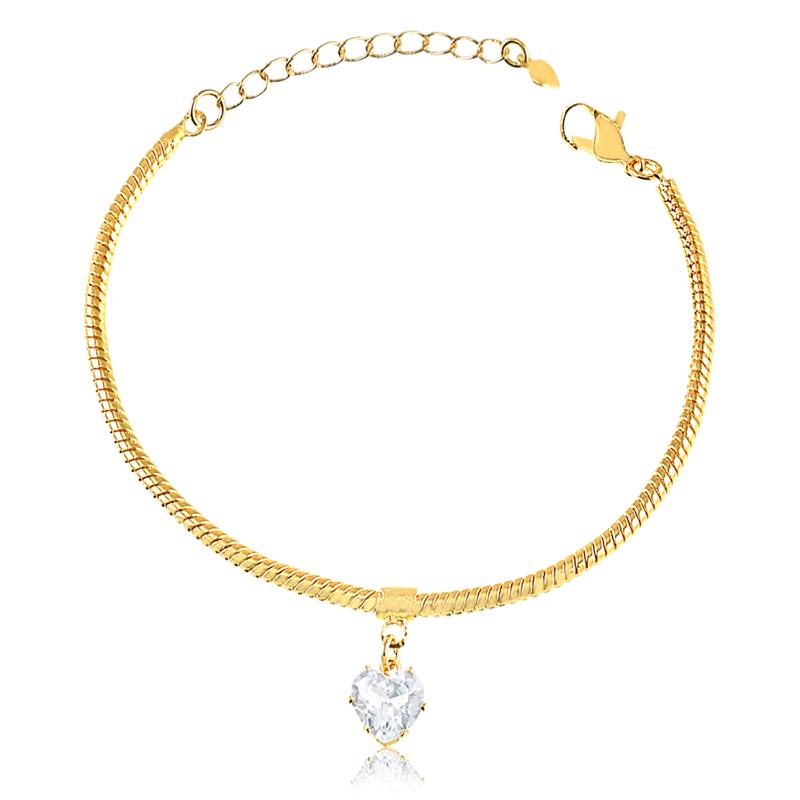 Pulseira com pingente de coração de zirconia banhado a ouro 18k feminino