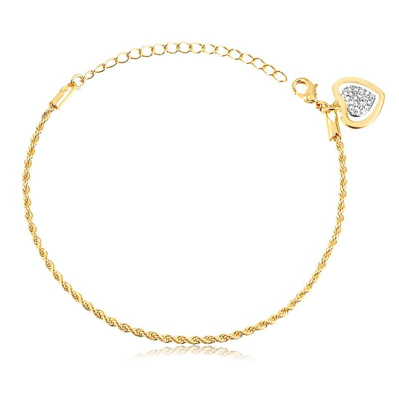 Pulseira com pingente de coração delicado banhado à ouro 18k feminina