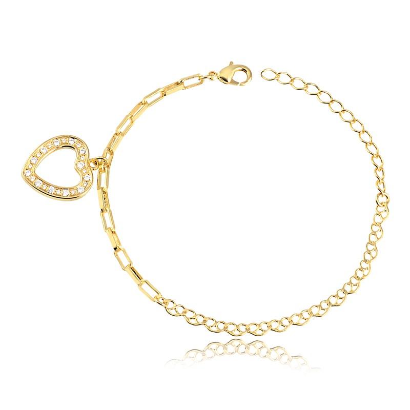Pulseira com pingente de coração grande banhado à ouro 18k feminina