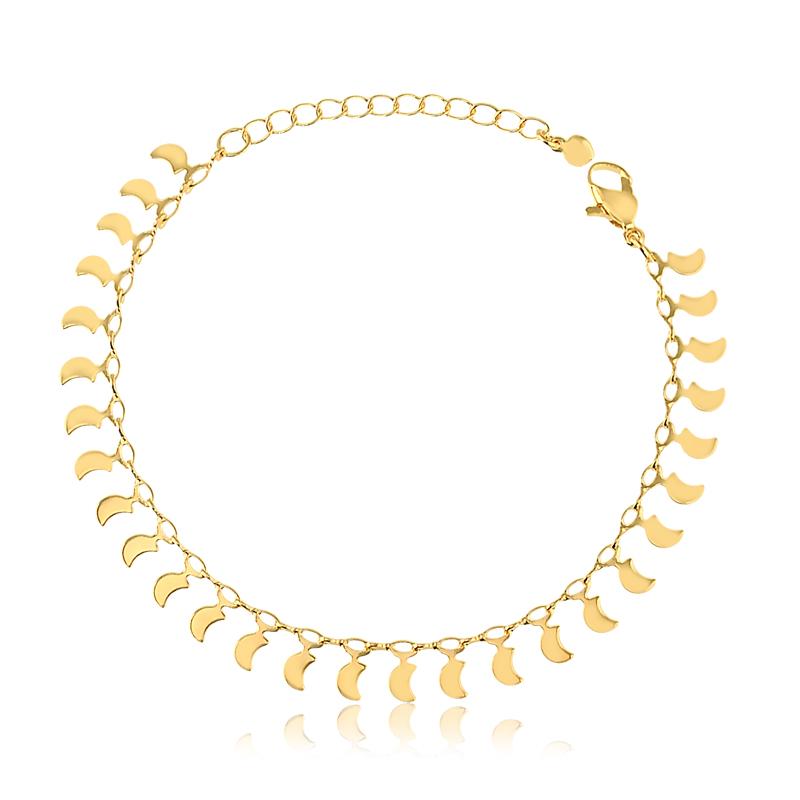 Pulseira com pingentes de lua banhado a ouro 18k feminina