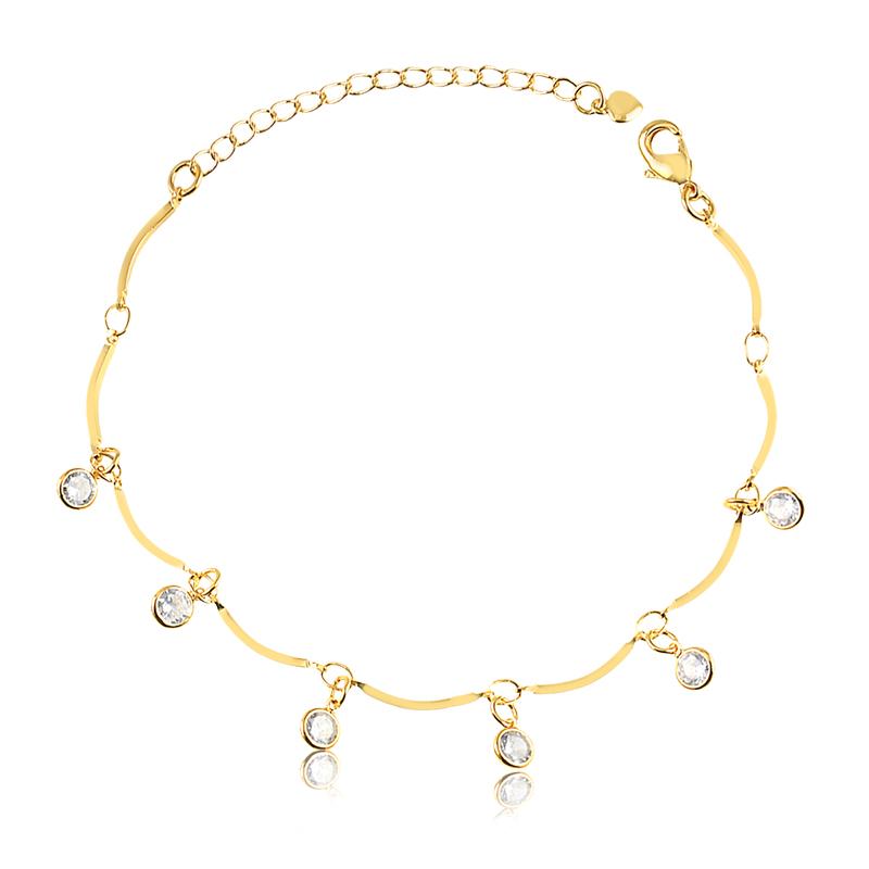 Pulseira com pingentes de zirconia banhado a ouro 18k feminina