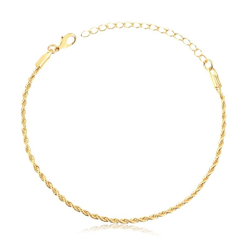 Pulseira cordão baiano fina banhada à ouro 18k feminina