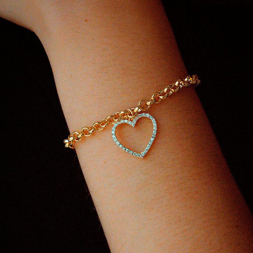 Pulseira de Coração com zircônias Banhada à Ouro 18k Feminina