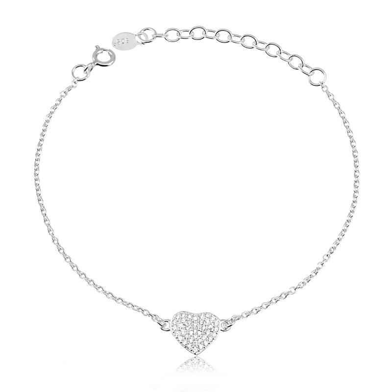 Pulseira de coração cravejado com zircônias prata 925 feminina