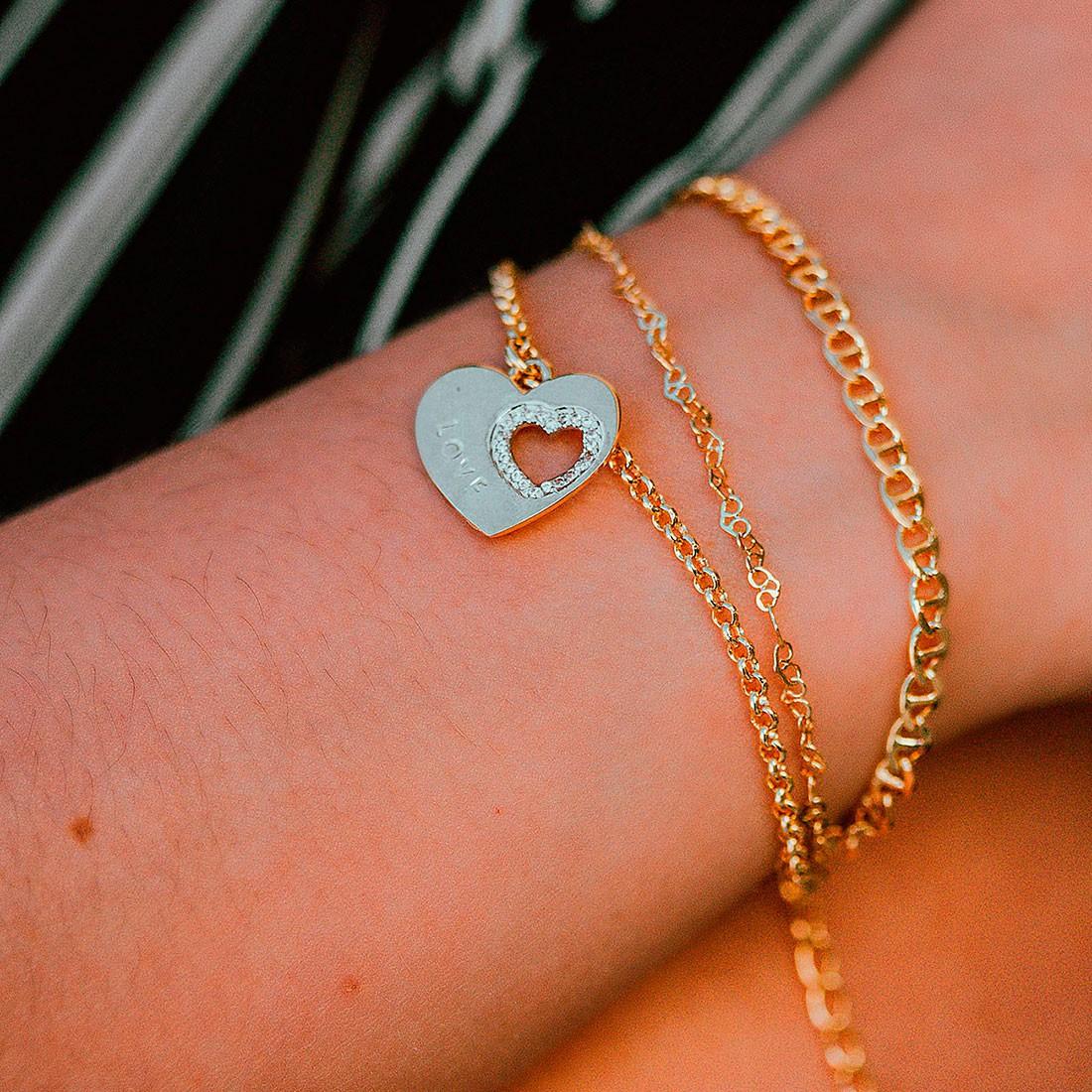 Pulseira de Coração Tripla Banhado à Ouro 18k Feminina