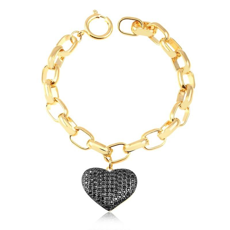 Pulseira de elos largos com pingente de coração preto banhado à ouro 18k