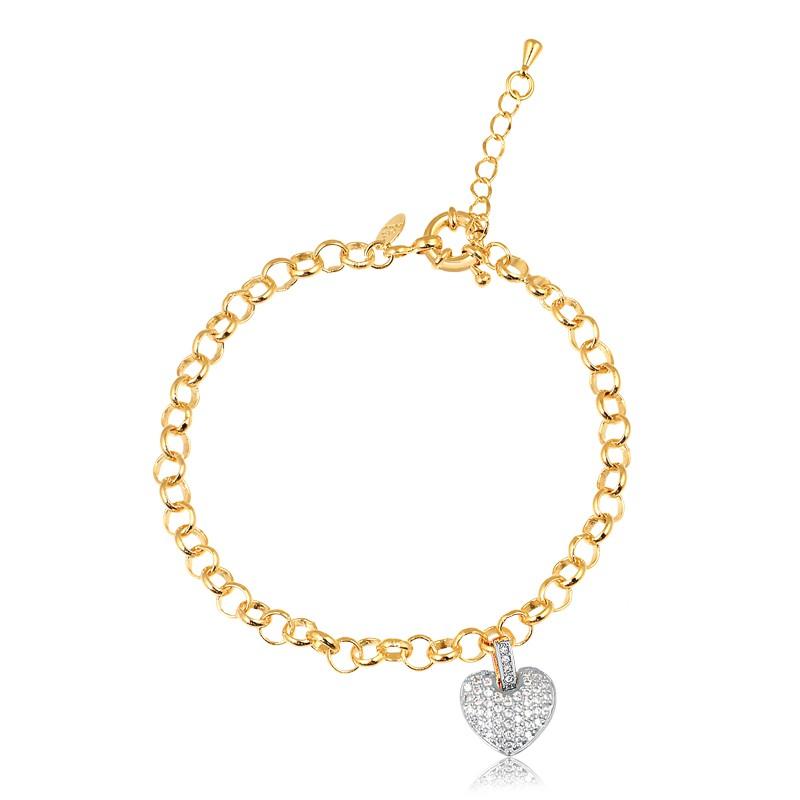 Pulseira de elos portugueses com pingente de coração cravejado banhado à ouro 18k feminino