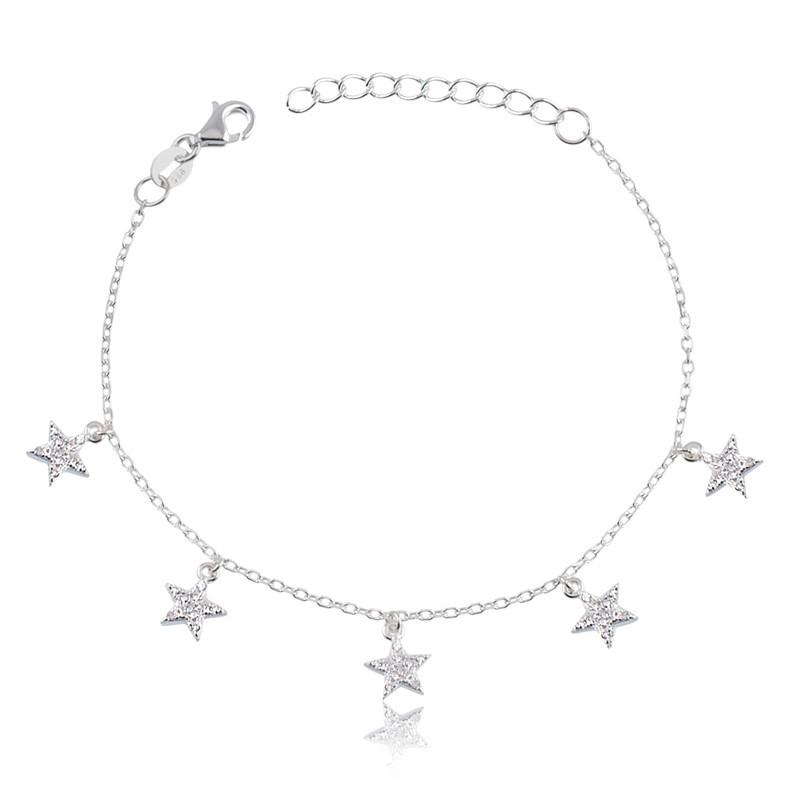 Pulseira de Estrelas com Pedras Prata 925 Feminina