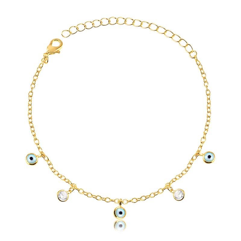 Pulseira de olho grego e pontos de luz banhada a ouro 18k feminina