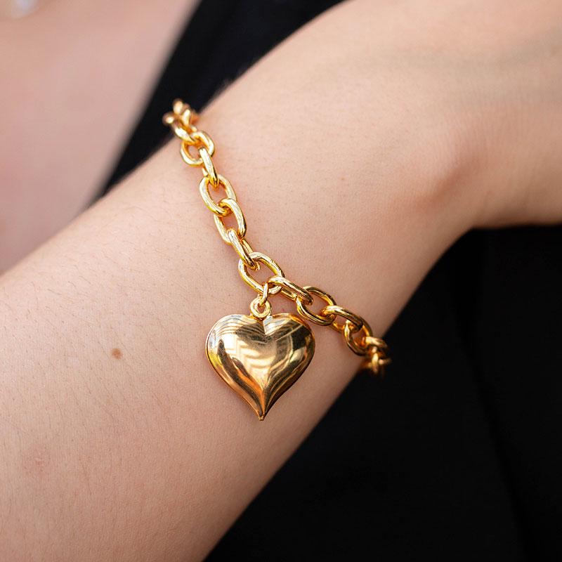 Pulseira lisa de coração banhada a ouro 18k feminina