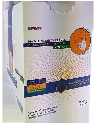 MÁSCARA FACIAL DESCARTÁVEL PAPER FRONT - 20 ENVELOPES COM 3 UNID E 1 PAR DE ELÁSTICOS CADA - EMBALAGEM DISPLAY (TOTAL 60 UN.)
