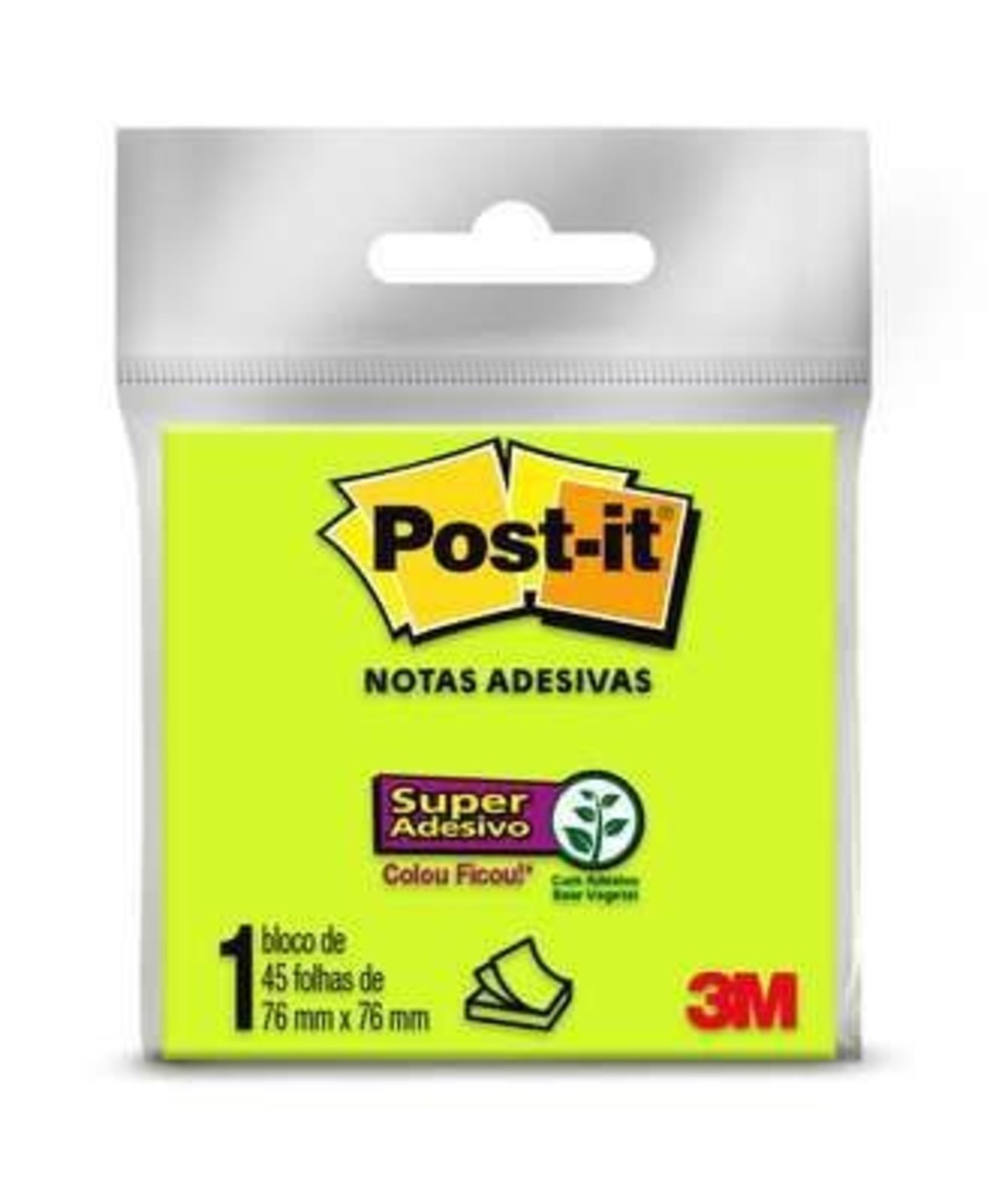 Bloco de Notas Super Adesivas Post-it® Verde 76 mm x 76 mm - 45 folhas