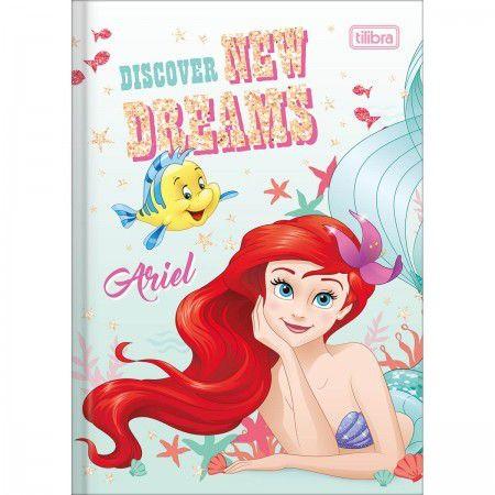 Caderno Brochura 1/4 pequeno Capa Dura 80 Fls Princesas Ariel Tilibra