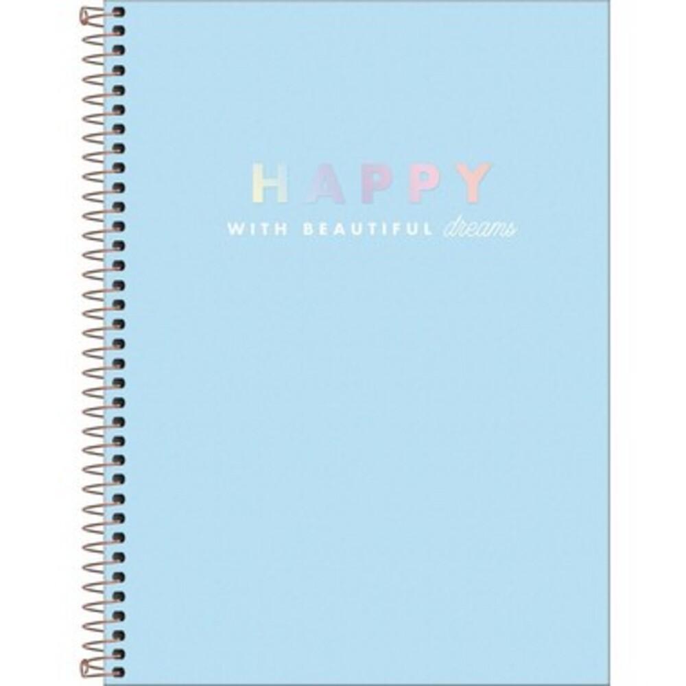 Caderno Espiral Capa Dura Universitário 10 Matéria Happy 160 Folhas