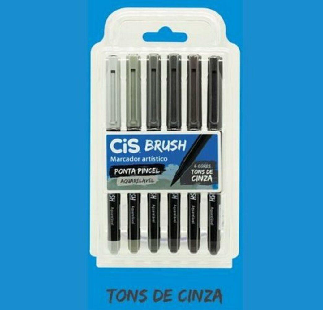 Caneta Brush Tons de Cinza