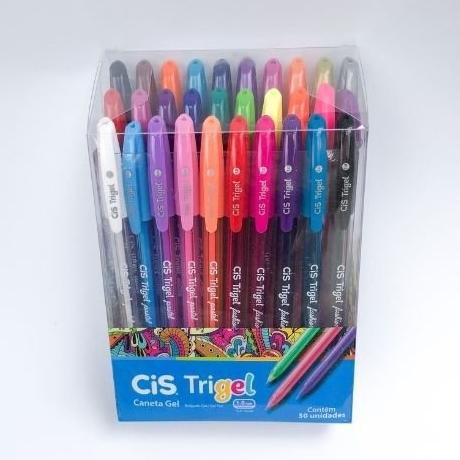 Caneta Gel CIS Trigel Conjunto 30 cores