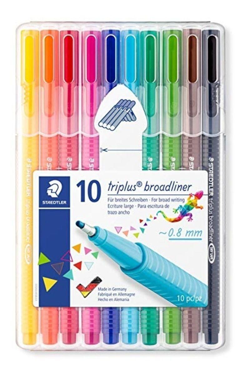 Caneta Staedtler Triplus Broadliner c/ 10 Brilliant Colours