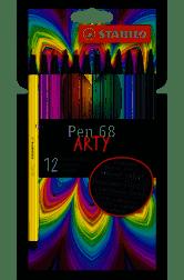 Estojo Caneta Stabilo ARTY Pen 68 c/ 12 Cores