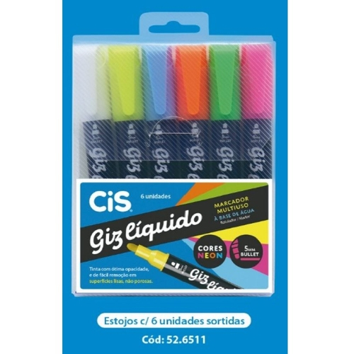 Giz líquido C/ 6 Unidades Neon - Cis