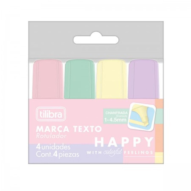 Marca Texto Happy Mini Tom Pastel Kit com 4 Cores - Tilibra