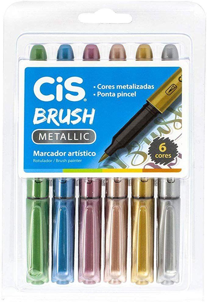 Marcador Artístico Aquarelável, CIS, Brush Metallic,