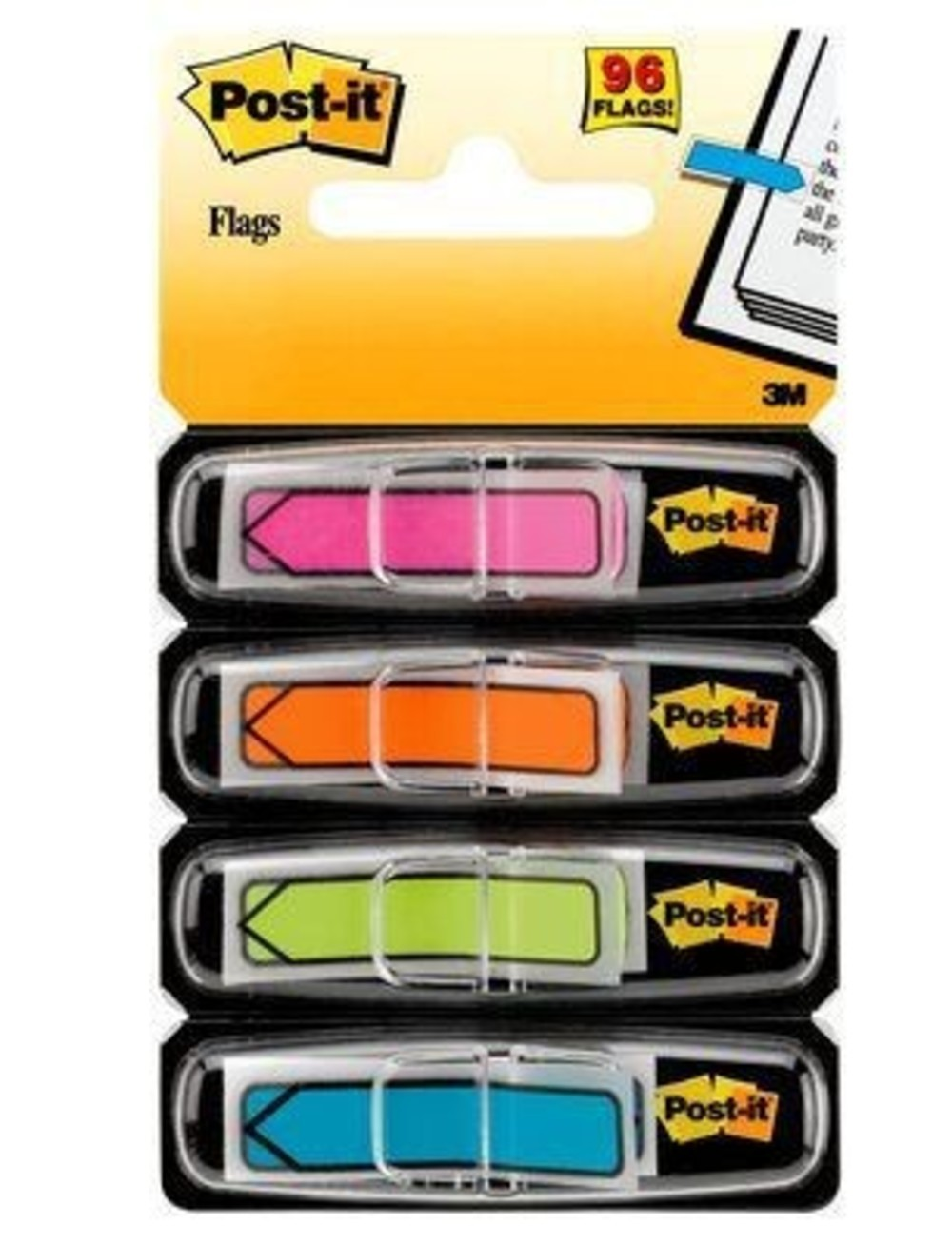 Marcador de Página Adesivo Post-it® Flags Setas Neon 4 96 Folhas