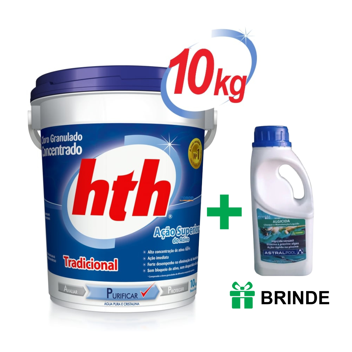 Atacado - Kit 10 baldes HTH Tradicional 10kg