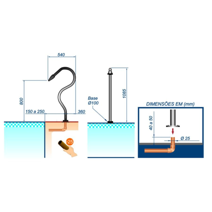 Cascata para piscina em Aço Inox Splash Slim - Sodramar