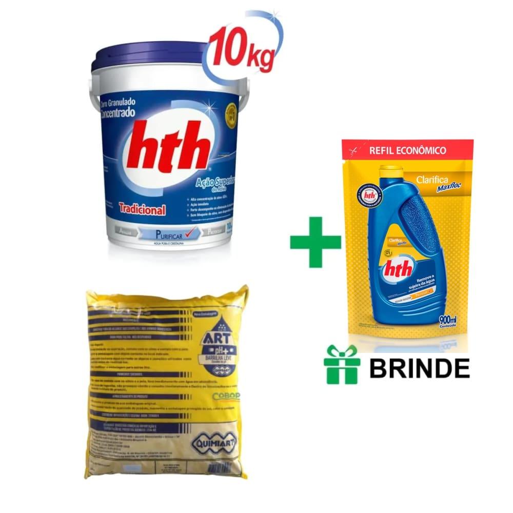 Kit cloro HTH 10kg + Barrilha + BRINDE