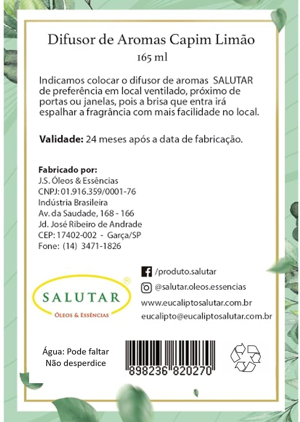 Difusor de Aroma Capim-Limão 165 ml com 5 Varetas Salutar
