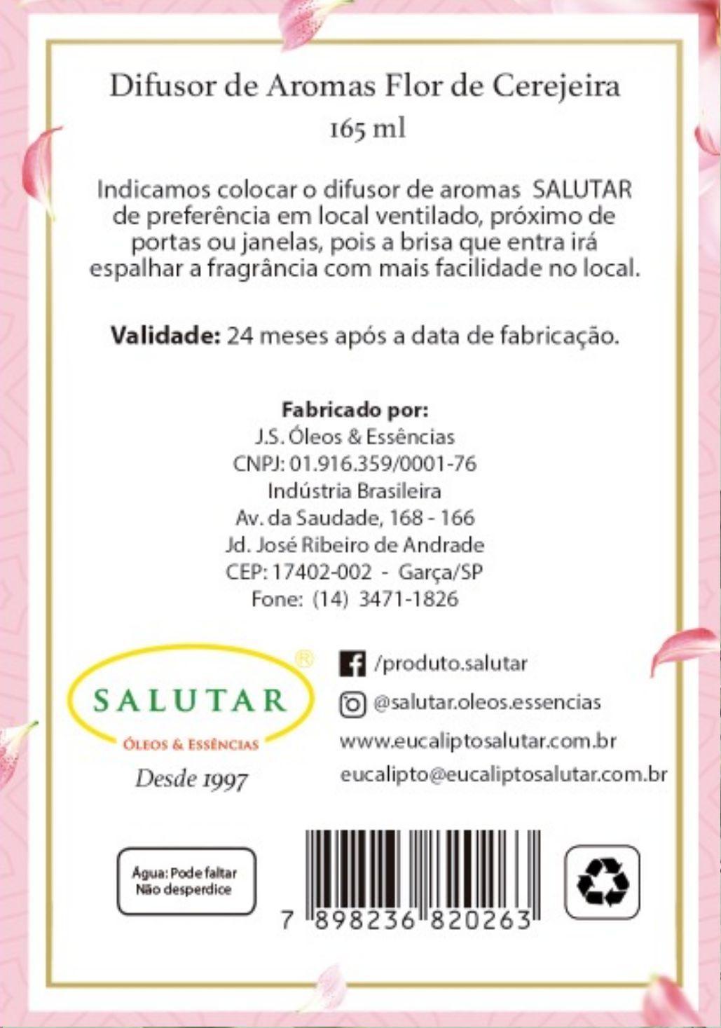 Difusor de Aroma Flor de Cerejeira 165 ml com 5 Varetas Salutar