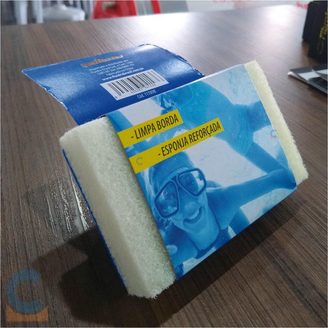 Escova / Esponja Com Cabo Reforçado - Limpa Borda Para Piscinas