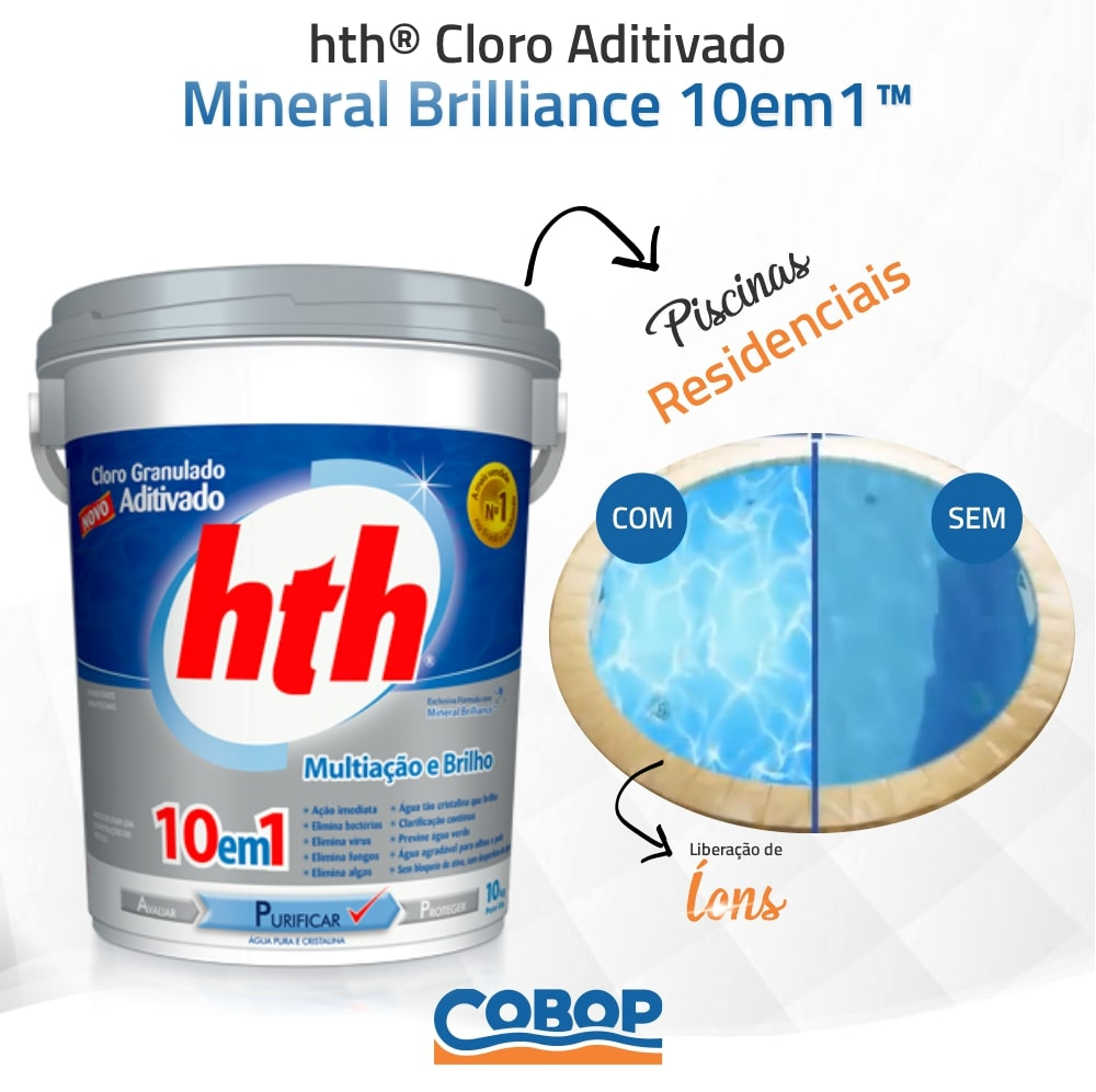Kit Xô Água Verde HTH - Fita teste - Algicida Choque - Clarificante - Cloro Mineral Brilliance 10 em 1
